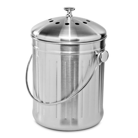 Oggi - Stainless Steel Compost Bin 3.8L. Not your average kitchen compost bin $42 @ petersofkensington.com.au