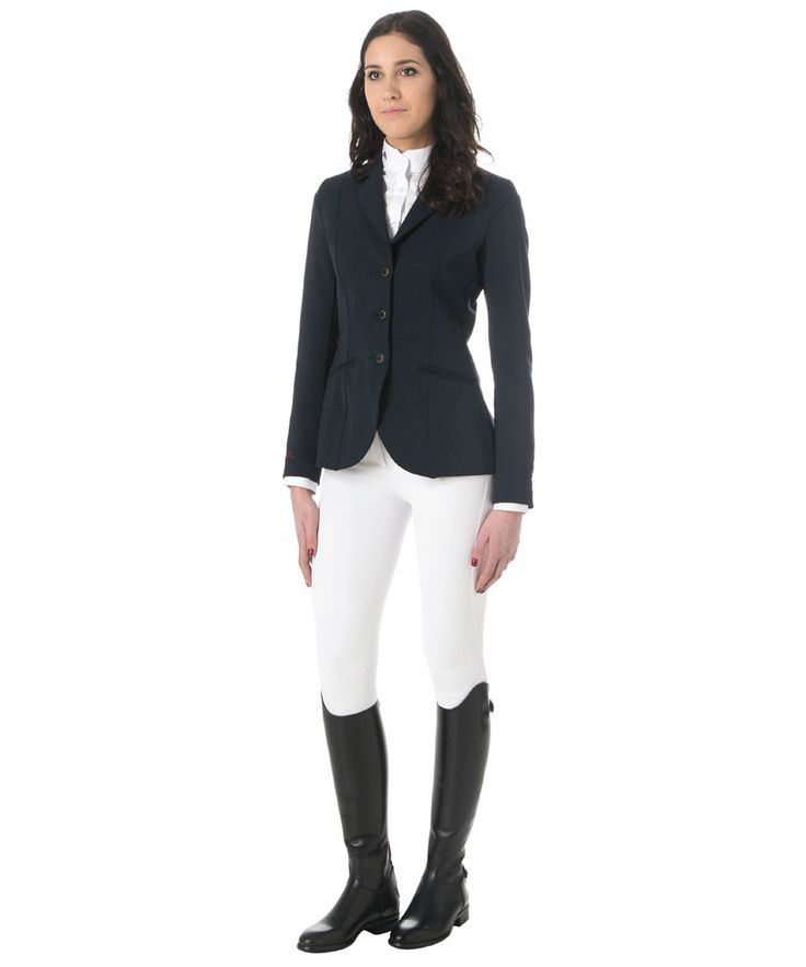 Lady horse riding jacket model ALTEA tech fabric. Composition 50% Poliestere 35,5% Poliammide 14,5% Elastan. To ensure the comfort of movements.