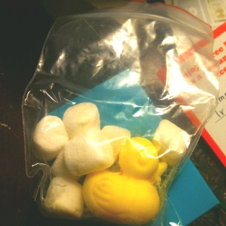 Yellow rubber ducky candy with marshmallows -- looks like ducky and bubbles!