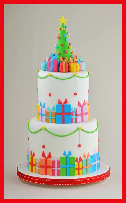 Christmas Parcel Cake - by Sandra Monger @ CakesDecor.com - cake decorating…