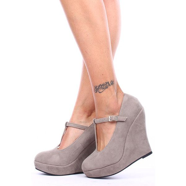 taupe faux suede t-strap platform wedge heels ($9.99) ❤ liked on Polyvore featuring shoes, pumps, taupe, t strap shoes, ankle strap pumps, wedge pumps, closed toe pumps and wedges shoes