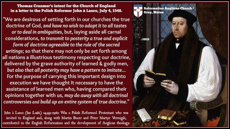 Thomas Cranmer's intent for the Anglican faith - Letter to Jan Laski