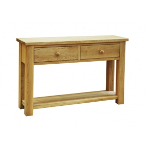 Contemporary Solid Oak QPHT2 2 Drawer Hall Table  www.easyfurn.co.uk