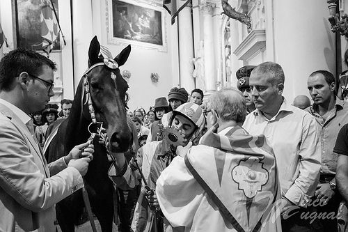 during the blessing of the horse inside the church of Contrada della Chiocciola