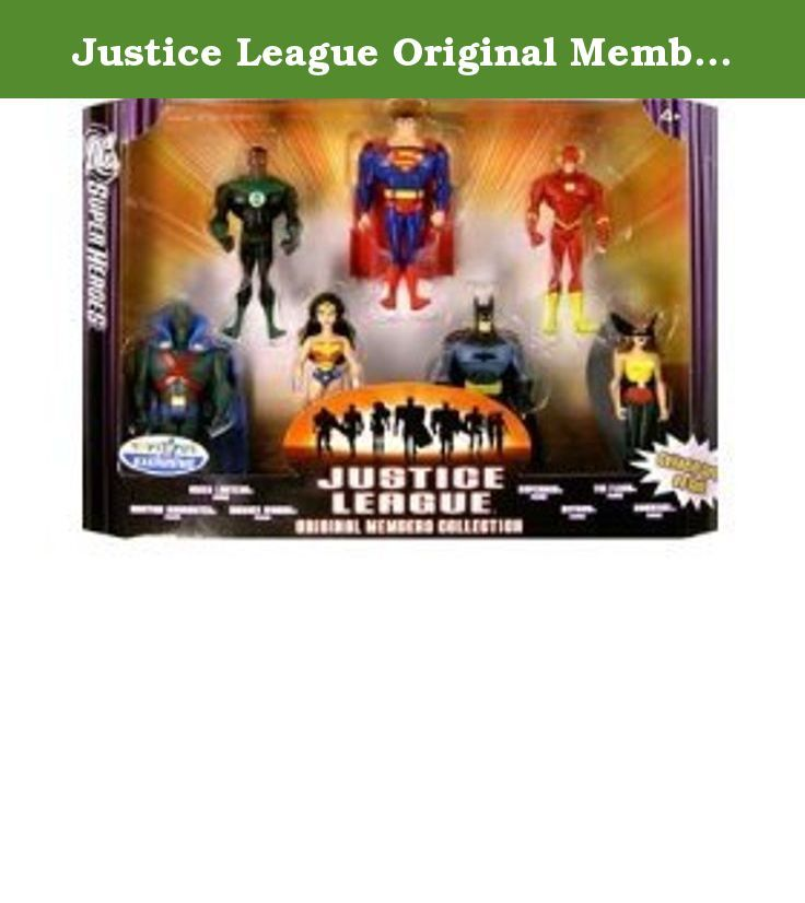 Justice League Original Members Action Figure Collection with 7 Figures. Includes Green Lantern, Superman, Flash, Martian Manhunter. Wonder Woman, Batman, & Hawkgirl. Green Lantern, Superman, Flash, Martian Manhunter.