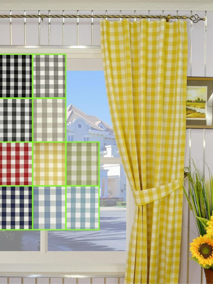 Moonbay Small Plaids Versatile Pleat Cotton Curtains   Custom Curtains  Drapes Draperies Sheers Rods And Tracks