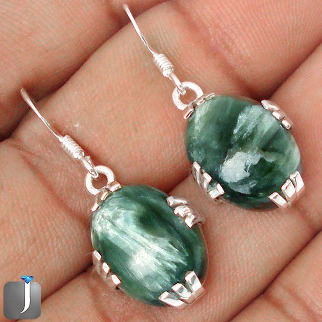 16.29cts NATURAL GREEN SERAPHINITE .925 STERLING SILVER EARRINGS JEWELRY C84856 #Jewelexi #DropDangle