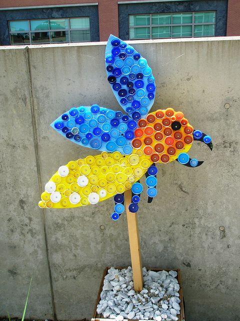 Reuse, Recover, Repurpose, Bottle Cap Bugs and Festive Flowers, Racine Art Museum, Racine, Wisconsin by hanneorla, via Flickr
