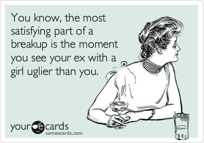 Funny Breakup Ecard: You know, the most satisfying part of a breakup is the moment you see your ex with a girl uglier than you.