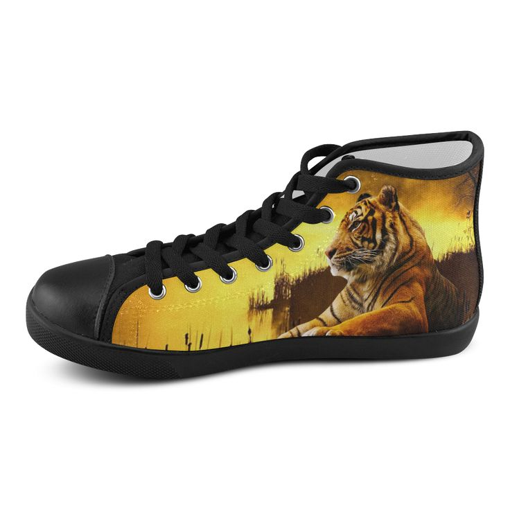 Tiger and Sunset Men's High Top Canvas Shoes. FREE Shipping. FREE Returns.