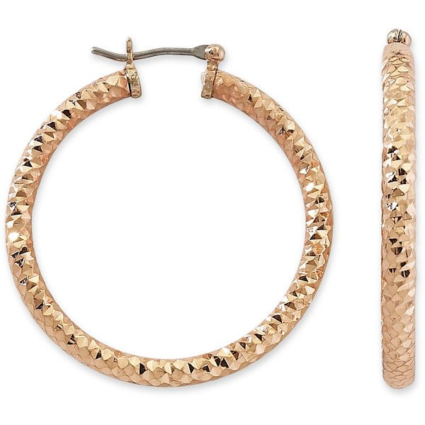 Monet Large Gold-Tone Diamond Cut Hoop Earrings ($15) ❤ liked on Polyvore featuring jewelry, earrings, gold, goldtone jewelry, gold tone hoop earrings, monet jewelry, diamond jewelry and monet earrings