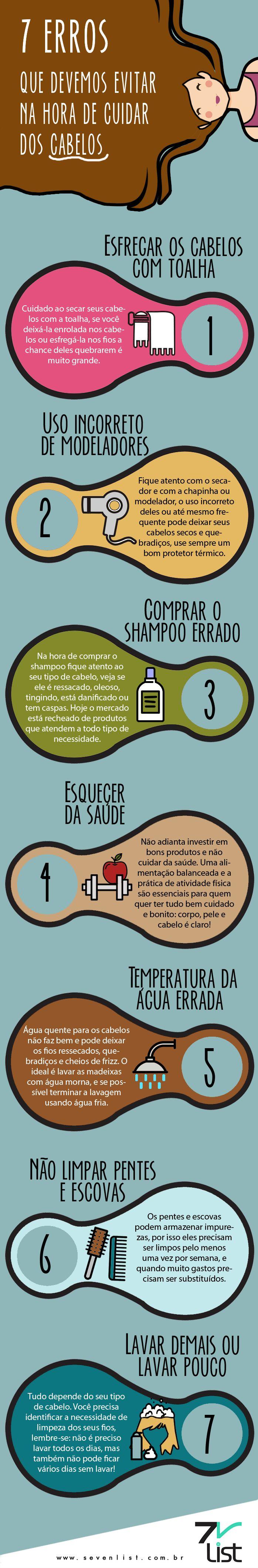 #Infográfico #Infographic #Sevenlist #List #Lista #Beleza #Beauty #Desenho #Cabelo #Hair #Cuidados #Erros #Dicas #Toalha #Secador #Chapinha #Babyliss #Modelador #Shampoo #Saúde #Água #Banho #Ducha #Chuveiro #Escova #Pente #Lavar #Cuidar #Tratar #Hidratar www.sevenlist.com.br