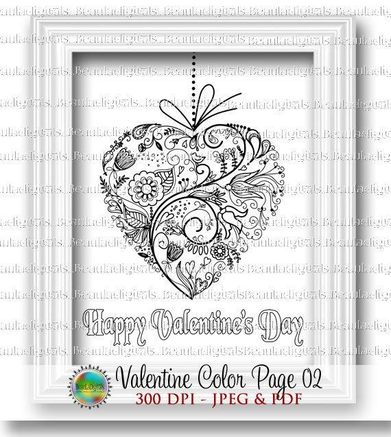 Valentine Coloring Page for Adults & Kids  by Beauladigitals