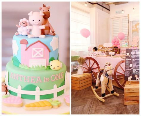 Pink Barnyard Birthday Party Setup via Kara's Party Ideas | karaspartyideas.com