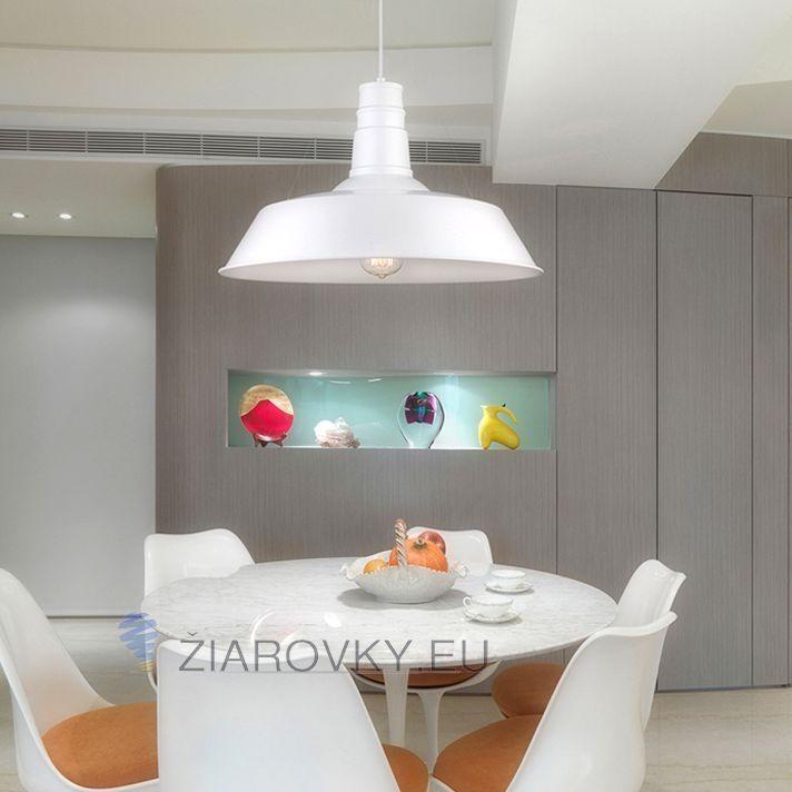 Moderné závesné svietidlo v bielej farbe na žiarovky typu E27 je svietidlo určené na strop v luxusnom modernom vzhľade. Svietidlo je vhodné do obývacej izby, kuchyne, jedálne, spálne, reštaurácie a pod
