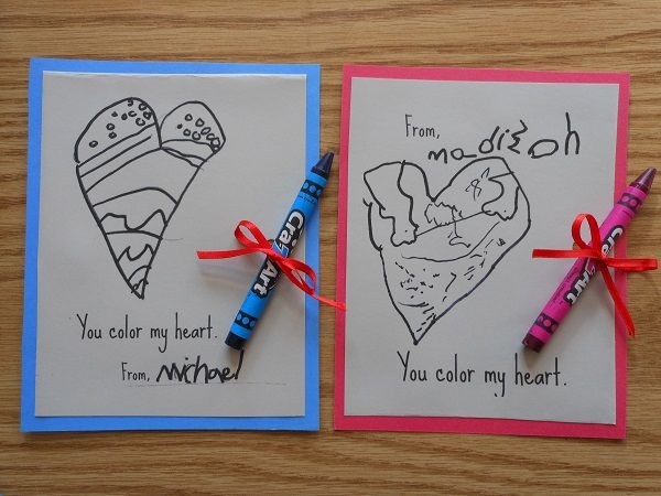 """""""You color my heart"""" DIY Valentine Cards for Kids"""