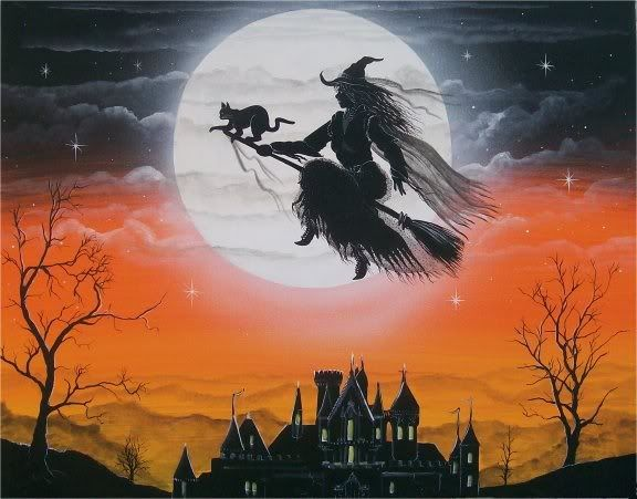 Halloween ~ flying witch ~ full moon {artist undetermined}