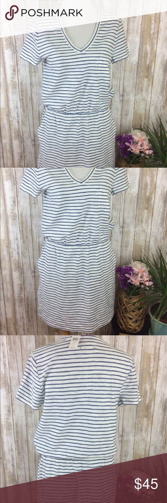NWT Lou and gray t-shirt dress white blue striped Brand new with tags! Lou and Gray 100% cotton t-shirt dress. Short sleeve with elastic at the waist and pockets! V-neck and knee length. Nautical vibes. Size medium. Lou & Grey Dresses