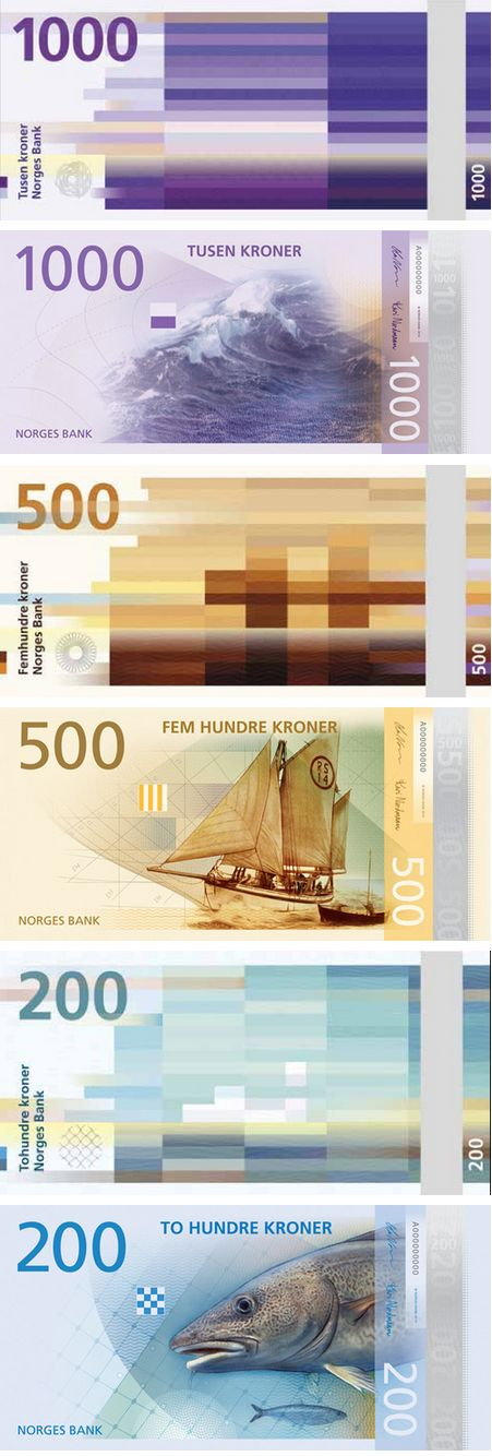 "Norway's new currency design scheduled for circulation in 2017, with front side designed by The Metric System featuring variations on the theme of ""The Sea"" and the required security elements, while the backside designed by Snøhetta renders images from the Norwegian coastal landscape with the amount of distortion depicting wind speed in a mosaic pixellated form. The notes will increase in length with the denomination."