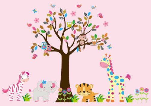 "Removable & Reusable Wall Decals Baby Nursery Tree Pink Colors Tiger 79"" x 105"""