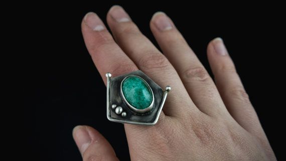 sterling silver natural emerald ring statement by Kirkihandmade