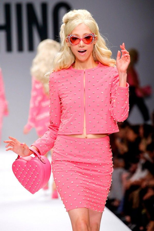 "The ironic style of Moschino brand by designer Jeremy Scott,   ""Barbie collection""  S/S 2015"
