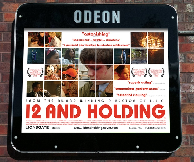 """""""12 And Holding"""" Film poster design for Lionsgate Films. After his twin brother is accidentally killed by vengeful bullies, a 12-year old boy and his friends face the harsh realities of death, teenage hormones, and family dysfunction."""