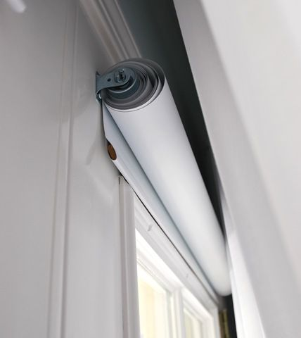 vinyl roll up blinds-hide behind sheer curtains