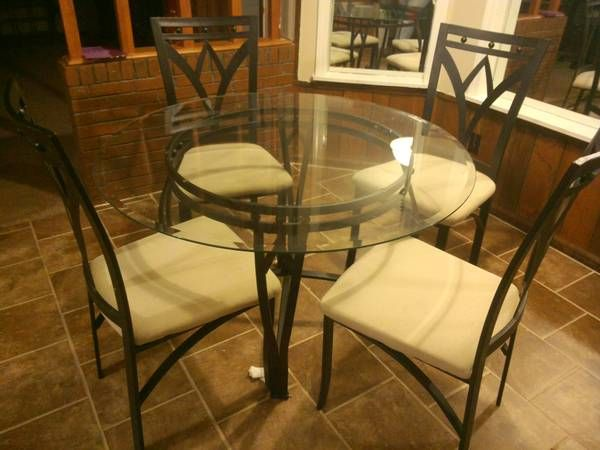 Black iron heavy table with the glass - $135 (Raleigh)