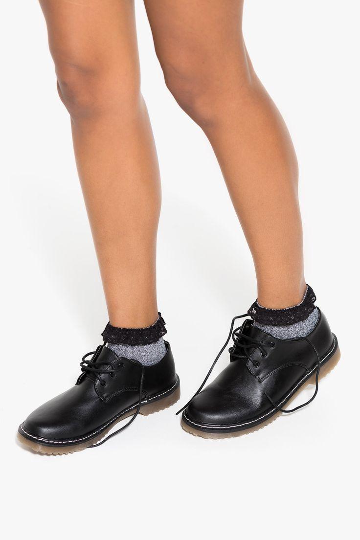 Stitched combat shoes