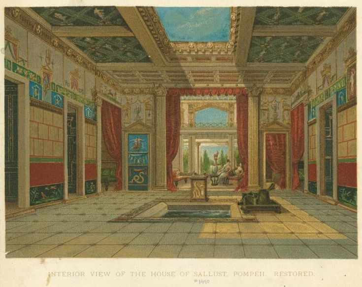 261 roman architecture residential buildings pompeii restored drawing of atrium house of. Black Bedroom Furniture Sets. Home Design Ideas