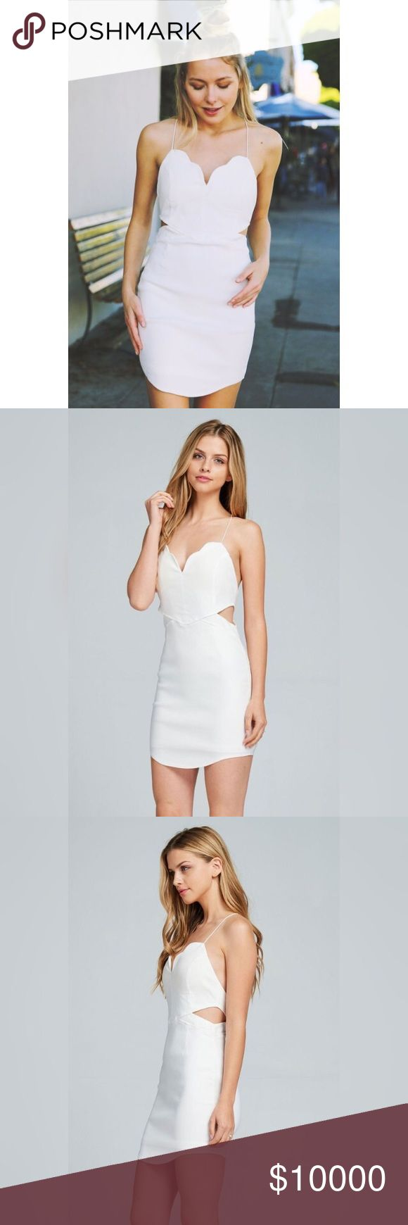 White open back bodycon dress Offers welcome.                                                                  • Knit open shoulder / open back party mini dress • Crossover back shoulder straps • Padded bra cups • Side cutouts • Zipper at back                                                                    97% cotton 3% spandex.                                                 💗I can also apply discounted shipping if requested in comments : ) Dresses Backless