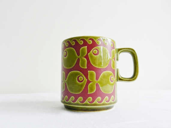 fish mug designed by John Clappison - I want one of these with hot pink and green!