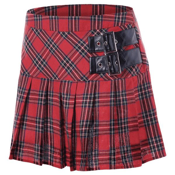 Buckles Plaid Pleated A-line Skirt ($18) ❤ liked on Polyvore featuring skirts