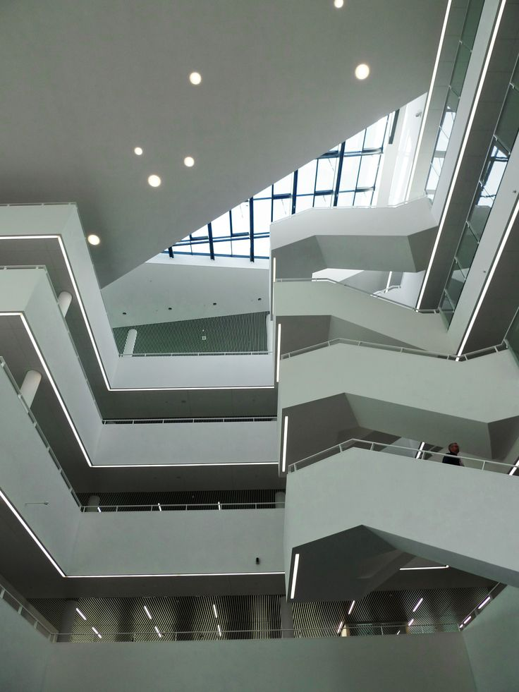 Staircases and glass roof of Viborg Town Hall by Henning Larsen Architects. Photo by Troels Troelsen