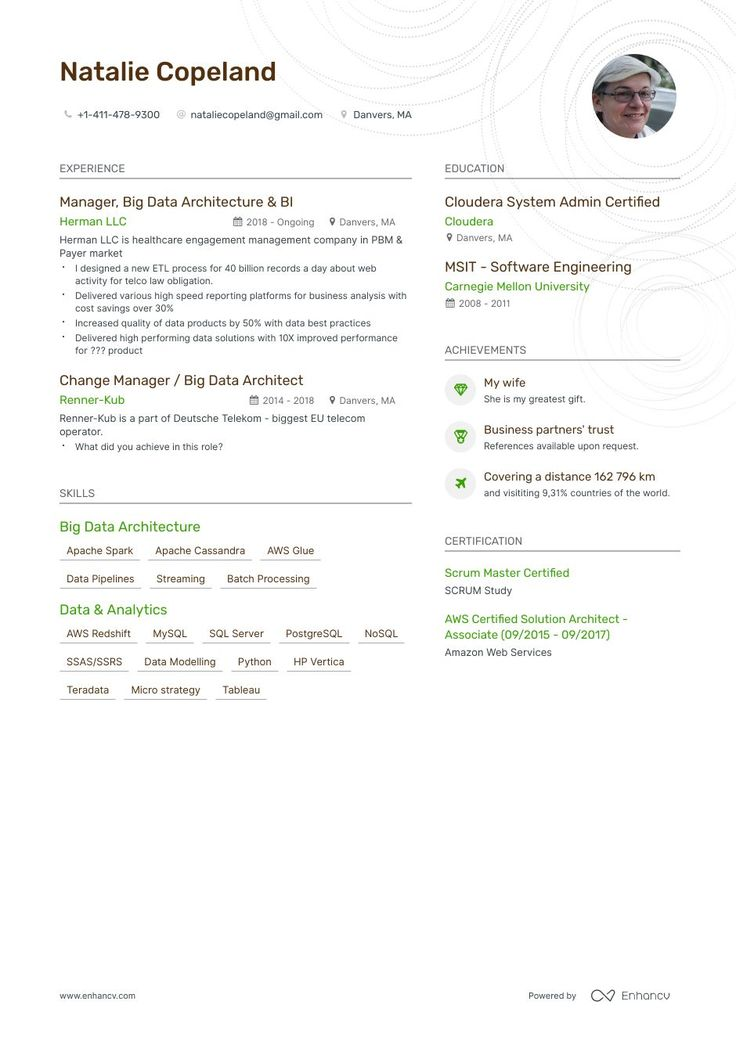 Big Data Architect Resume Example and guide for 2019