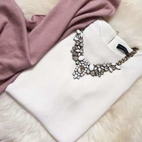 blush pink scarf and chic statement necklace- J.crew crystal statement necklace http://www.justtrendygirls.com/j-crew-crystal-statement-necklace/