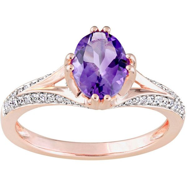 14k Rose Gold Amethyst & 1/5 Carat T.W. Diamond Ring ($1,925) ❤ liked on Polyvore featuring jewelry, rings, purple, 14k diamond ring, purple ring, diamond rings, purple diamond ring and 14k rose gold ring