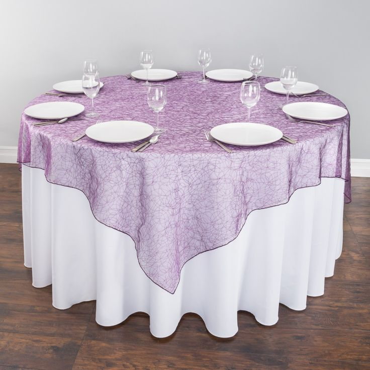 72 in. Purple Web Organza Overlay for Weddings and Special Events ...
