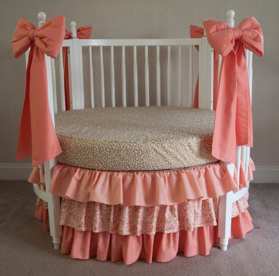 Metallic Gold Cheetah, and Coral  Baby Girl Round Crib Cot  Bedding with Decorative Crib Bows
