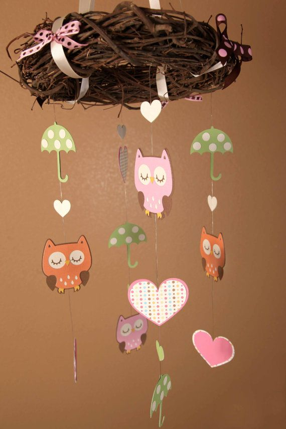 Mobile Owl Themed Beautiful Birthday or Baby by lovetiesbymeggin, $39.95