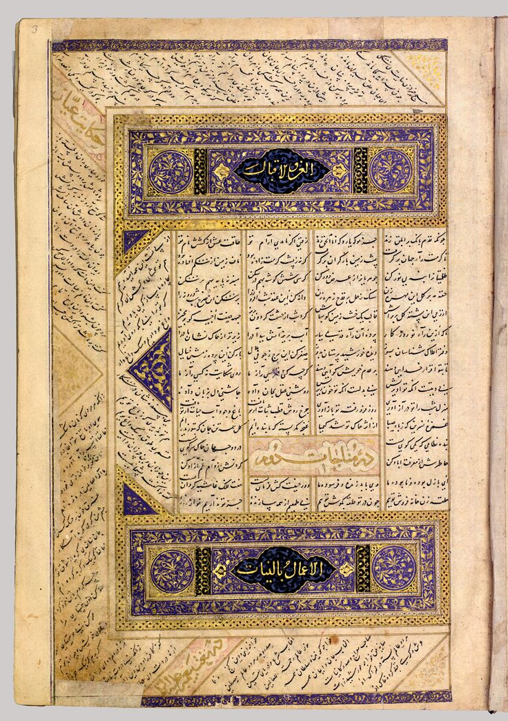 Anthology of Persian Poetry  Object Name: Illustrated manuscript Date: 15th century Geography: Attributed to Iran, Shiraz Medium: Main support: Ink, opaque watercolor, silver, and gold on paper Binding: Leather and gold Dimensions: 10 1/2 x 7in. (26.7 x 17.8cm)