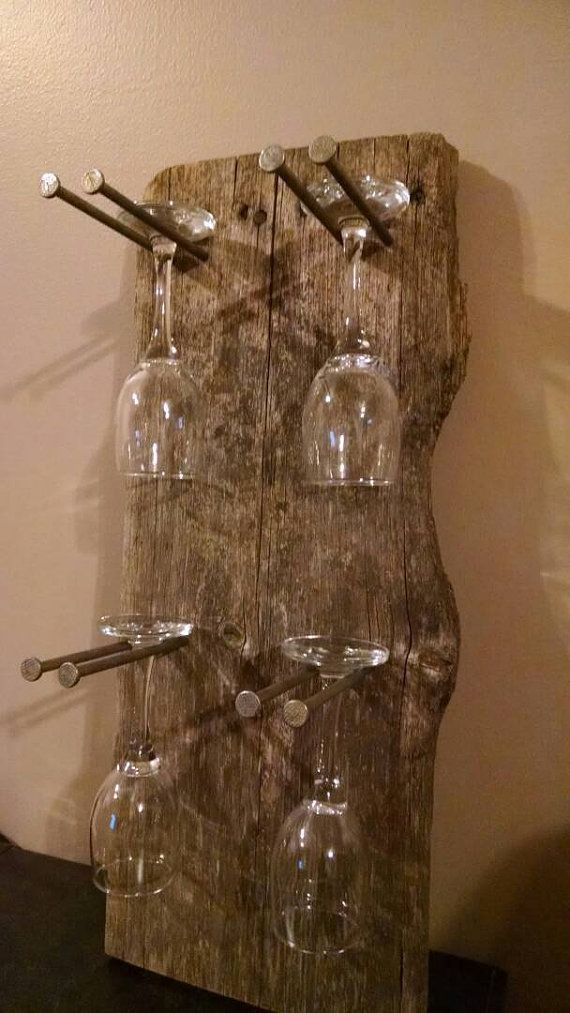 Rustic Glass Wine Rack by RinehimerWoodworking on Etsy