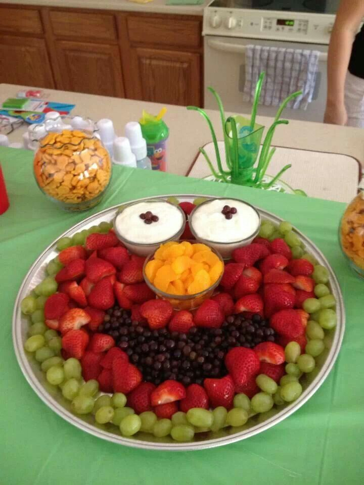 Elmo fruit tray because I love Mitzie more than I dislike Elmo