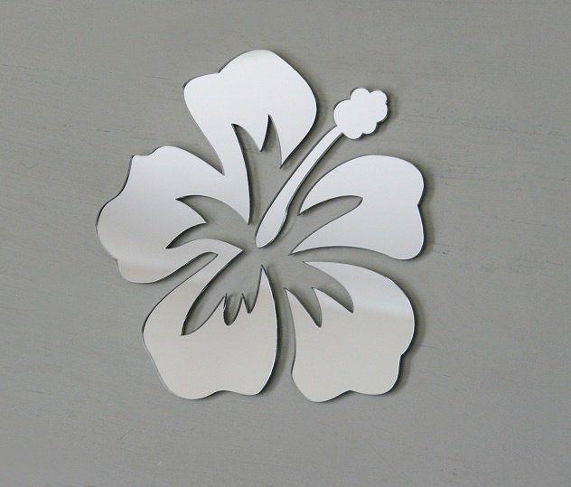 Hibiscus cut out acrylic mirror, 17cm by 17cm in set up position. Available from our online store for $12.95 + postage. Cut from a high quality lightweight 3mm acrylic - Can be hung with Blu-tack.