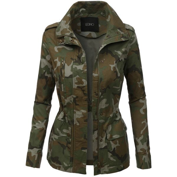 LE3NO Womens Long Sleeve Camo Military Anorak Jacket ($33) ❤ liked on Polyvore featuring outerwear, jackets, coats, coats & jackets, tops, camouflage jacket, anorak coat, military camouflage jacket, military anorak and camo jacket
