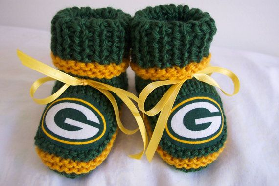 Custom handmade knit NFL Green Bay PACKERS baby by hart2hartcrafts I am going to need these!!!