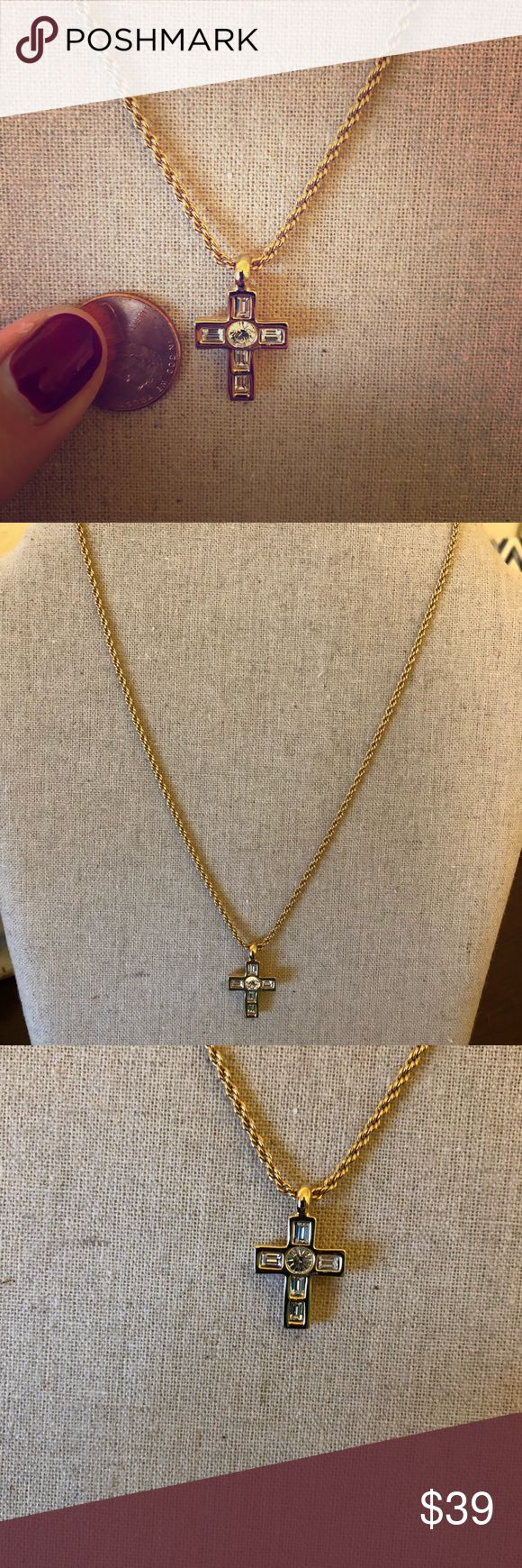 "Swarovski Gold Cross Worn only once, gorgeous sparkly Swarovski Cross with gold rope chain. Seems to be 16"". Just beautiful. Smoke and pet free home, enjoy! EUC Swarovski Jewelry Necklaces"