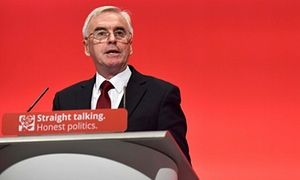 Shadow chancellor John McDonnell addresses the Labour party conference