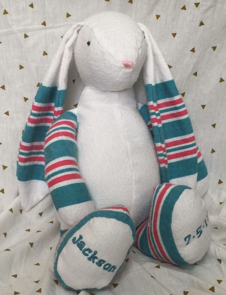 Turn your receiving/hospital blanket into a toy bunny for your baby